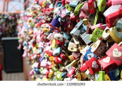 Locks. padlocks on Seoul tower. Seoul, South Korea. for luck in love.