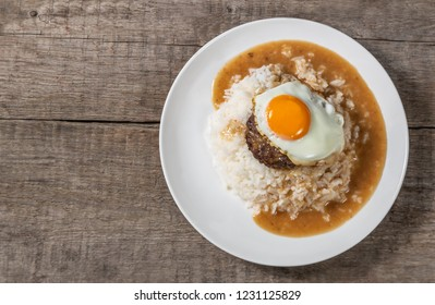 Loco Moco. Traditional Hawaiian cuisine. The view from the top. Copy-space