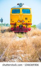 Locomotive in dry field