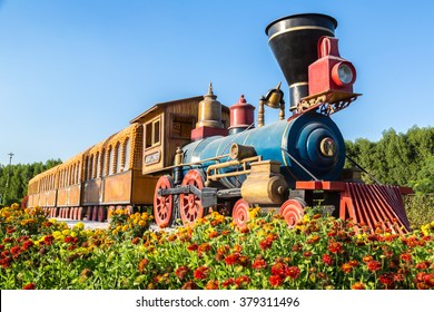 Locomotive in Dubai miracle garden with over 45 million flowers in a sunny day