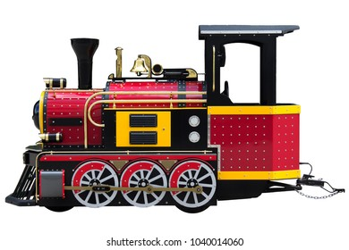 Locomotive for kids. Real choo choo train for kids and children amusement isolated on white background.