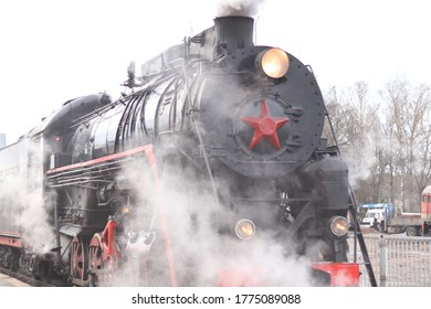 Locomotive of the mid 20th century. The train of Soviet times. THE USSR. Railway. Locomotive