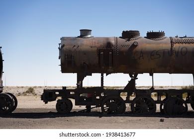 locomotive near Uyuni in Bolivia. Cemetery trains.