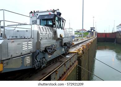 locomotive on the Panama canal