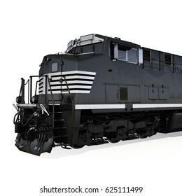 Locomotive on white. Close view. 3D illustration