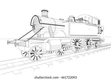 locomotive, sketch, wheel, 3d illustration