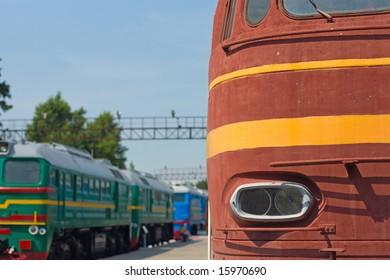 locomotive and wagon on railroad station