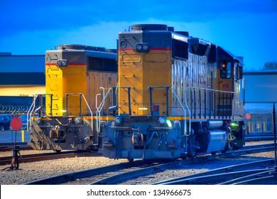 Locomotives in rail yard.