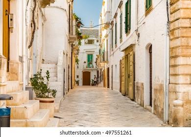 locorotondo in Apulia, Italy, whitewashed houses and narrow streets