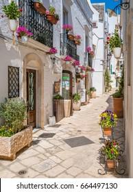 Locorotondo, Bari Province, Apulia, southern Italy. May-27-2017