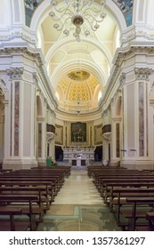 Locorotondo, Italy - 14 July 2018 - The gorgeous white town in province of Bari, chosen among the top 10 most beautiful villages in Southern Italy. St Rocco church interior.