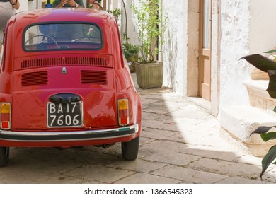 Locorotondo, Italy - 14 July 2018 - Vintage Seat car at The gorgeous white town in province of Bari, chosen among the top 10 most beautiful villages in Southern Italy