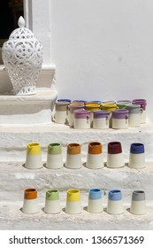 Locorotondo, Italy - 14 July 2018 - The gorgeous white town in province of Bari, chosen among the top 10 most beautiful villages in Southern Italy Pottery for sale at street