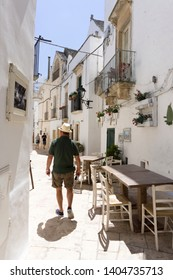 Locorotondo, Italy - 14 July 2018 - The gorgeous white town in province of Bari, chosen among the top 10 most beautiful villages in Southern Italy