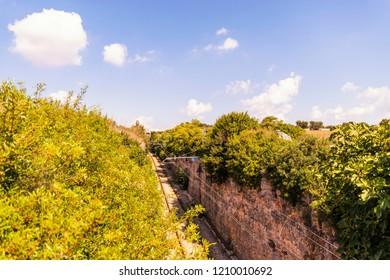 Locorotondo, Italy / 15th September 2018 / Railroad of the route railway between Locorotondo and Martina Franca
