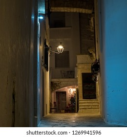 Locorotondo, Italy - December 28, 2018: Christmas decorations for the small streets of Locorotondo in Italy - Europe. Locorotondo, a city of Apulia famous for its wine in the Valle d'Itria.