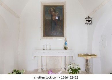 LOCOROTONDO ITALY: Madonna del Soccorso chapel at Locorotondo, Italy - 14 July 2018 - The gorgeous white town in province of Bari, chosen among the top 10 most beautiful villages in Southern Italy