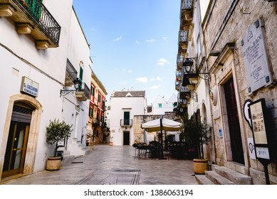 Locorotondo, Italy - March 11, 2019: Main square of the old city.