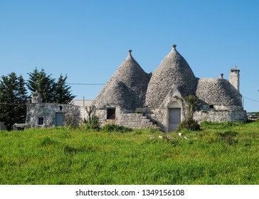 Locorotondo, Italy - March circa, 2019: Old rural building in Italy called Trullo, characteristic for the cone-shaped roof, very common in the Itria valley.