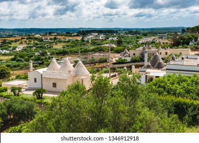 Locorotondo and the Itria valley. Between white houses and Trulli. Puglia, Italy