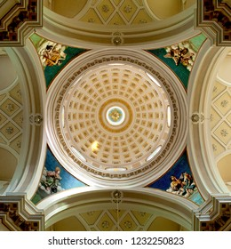 Locorotondo, Puglia, Italy, October 2018: the beautiful art and architecture of the dome and ceiling of the Mother Church of Saint George in Locorotondo in Puglia, southern Italy.