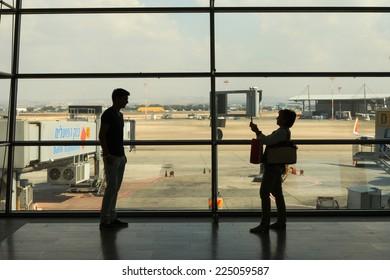 Lod, Israel - October 12, 2014: Passengers at Israel's Ben Gurion international airport, Terminal 3 Departure Hall