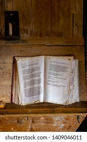 Lode, Cambridgeshire /  UK - MAY 11 2019: old book of recipes open on wooden desk