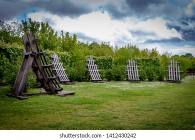 Lode, Cambridgeshire /  UK - MAY 11 2019: curved wooden constructions in the park