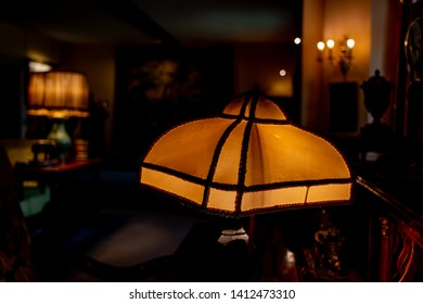 Lode, Cambridgeshire /  UK - MAY 11 2019: old lamps in the room in dark