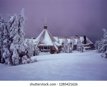 A Lodge near timberline on Mt Hood and trees covered with snow