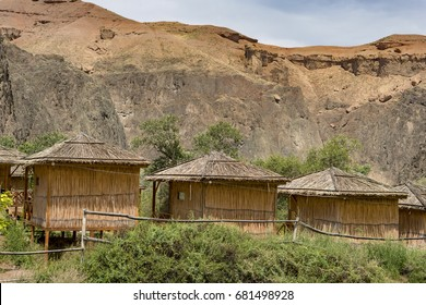 Lodging houses in the Charyn Canyon. National park, Kazakhstan