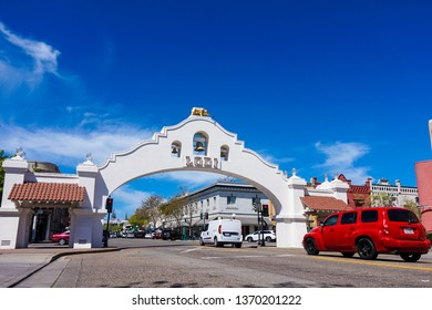 Lodi Arch, located in Downtown Lodi California USA, which is one of a town landmark, April 14th 2019