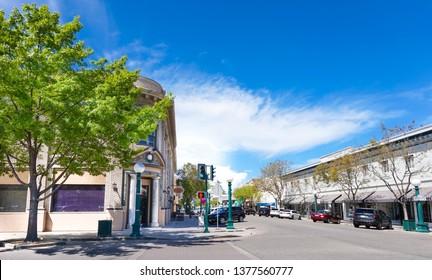 Lodi, California, USA April 13rd 2019 Downtown Lodi business buildings
