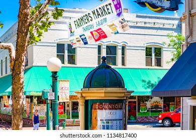 "Lodi, California, USA  July 15th, 2018 Downtown Lodi area with ""Farmers Market"" signage"