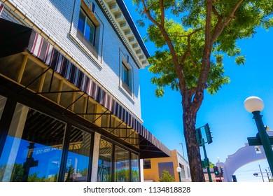 Lodi, California, USA July 15th, 2018  Buildings near Lodi Arch in Downtown Lodi