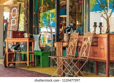 Lodi, California, USA July 15th 2018 Used furniture store in downtown