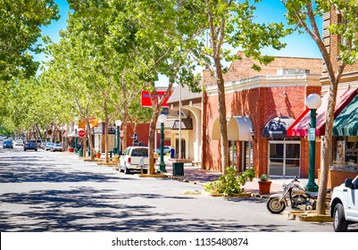 Lodi, California, USA July 15th 2018 Downtown business area during summer