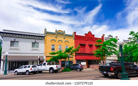 Lodi, California, USA - June 6th, 2018: Downtown area in late spring with beautiful blue sky
