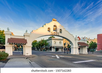 Lodi, California, USA - September 7, 2018: Downtown area in late summer with beautiful blue sky.