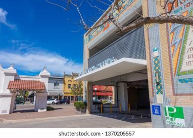Lodi Station parking lot located in downtown Lodi, California USA in April 14th 2019