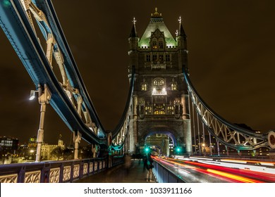 Lodon / England - March 12 2017: Tower Bridge with light trails at night