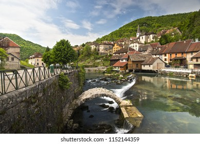 lods city next to the loue river in france franche comté jura