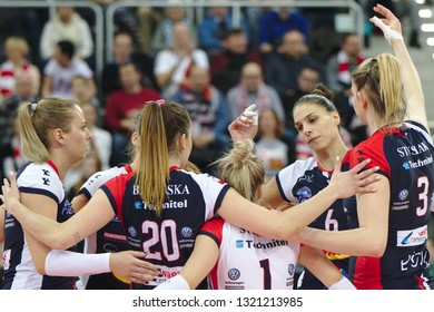 LODZ, POLAND – 02 23 2019: Polish Women's Volleyball League LKS Commercecon Lodz - Grot Budowlani Lodz. Budowlani player Jovana Brakocevic-Canzian.