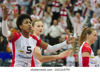 LODZ, POLAND – 02 23 2019: Polish Women's Volleyball League LKS Commercecon Lodz - Grot Budowlani Lodz. LKS Commercecon player Regiane Bidias.