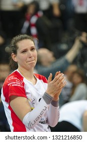 LODZ, POLAND – 02 23 2019: Polish Women's Volleyball League LKS Commercecon Lodz - Grot Budowlani Lodz. Sad LKS Commercecon player Aleksandra Wojcik.