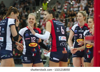 LODZ, POLAND – 02 23 2019: Polish Women's Volleyball League LKS Commercecon Lodz - Grot Budowlani Lodz. Grot Budowlani players Jovana Brakocevic-Canzian and Femke Stoltenborg.