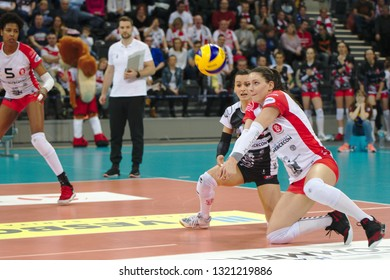 LODZ, POLAND – 02 23 2019: Polish Women's Volleyball League LKS Commercecon Lodz - Grot Budowlani Lodz. LKS Commercecon player Aleksandra Wojcik.