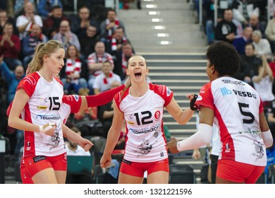 LODZ, POLAND – 02 23 2019: Polish Women's Volleyball League LKS Commercecon Lodz - Grot Budowlani Lodz. LKS Commercecon players Klaudia Alagierska and Monika Bociek.