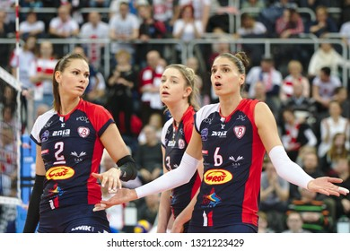 LODZ, POLAND – 02 23 2019: Polish Women's Volleyball League LKS Commercecon Lodz - Grot Budowlani Lodz. Grot Budowlani players Gabriela Polańska, Magdalena Stysiak and Jovana Brakocevic-Canzian.