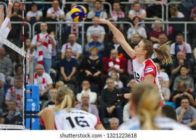 LODZ, POLAND – 02 23 2019: Polish Women's Volleyball League LKS Commercecon Lodz - Grot Budowlani Lodz. LKS Commercecon player Monika Bociek.